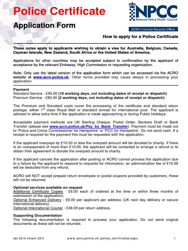 Acro Police Certificate >> Police Certificatae Application Form Jan 2016 V28 0 Mail