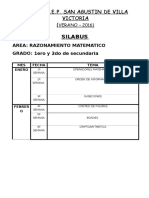 Silabus Verano 1er y 2do Secundaria Raz Matematico