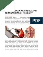 Bagaimana Cara Mengatasi Tekanan Darah Rendah