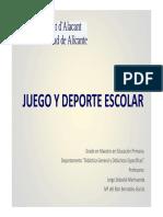 Tema 1. El Juego. Concepto. Historia Del Juego, Características, Teorías y Clasificación. El Juego Como Actividad de Enseñanza-Aprendizaje.