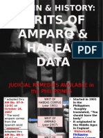 Legal History of the Writ of Amparo & Writ of Habeas Data