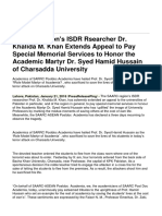 SAARC Region's ISDR Rsearcher Dr. Khalida M. Khan Extends Appeal to Pay Special Memorial Services to Honor the Academic Martyr Dr. Syed Hamid Hussain of Charsadda University