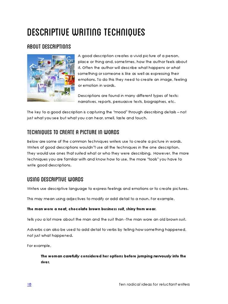 techniques used in descriptive writing