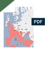 Harta Europa anul 220 d.H.