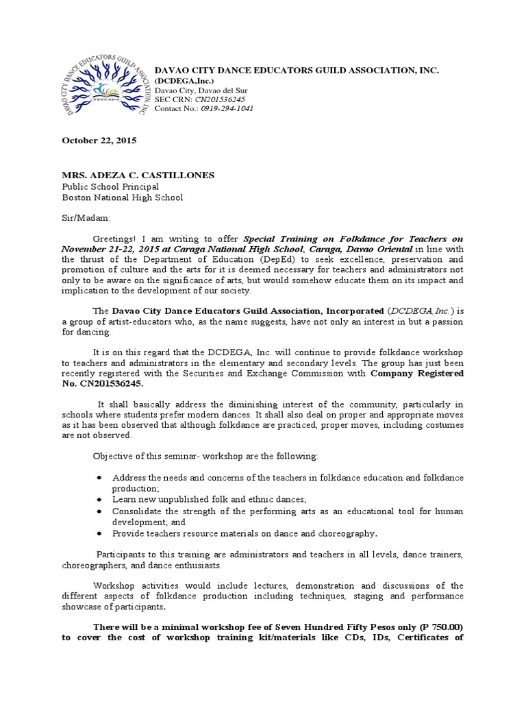 Folkdance Training Invitation Letter 2015