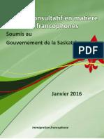 Rapport du comité consultatif sur l'immigration francophone