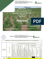 BOLETÍN AGROMETEOROLOGICO Correspondiente a La 3ra. Decena Del Mes de Enero 2016-Nº 926-Altiplano