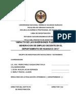 """""""IMPACTO DE LAS INVERSIONES PUBLICAS EN LA GENERACION DE EMPLEO DECENTE EN EL DEPARTAMENTO DE HUANUCO PERU 2012"""""""