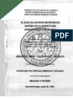 El Juez de Asuntos Municipales Dentro de La Estructura Administrativa Municipal