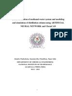 Batch Distillation of Water-Methanol System
