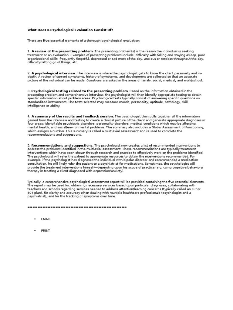 Psychological Evaluation - Design Templates