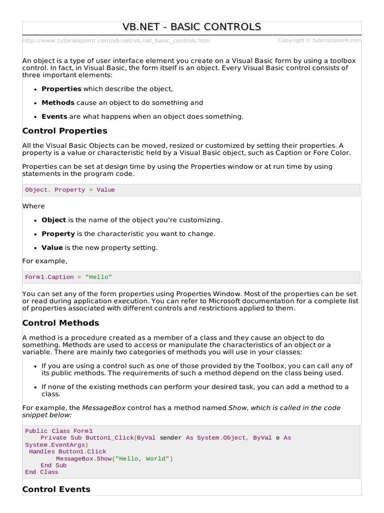 Vb net Basic Syntax | Widget (GUI) | Clase (Programación de
