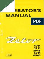 Uputstvo Za Korištenje Traktora Zetor 4911-5911-5945-6911-6945 Na Engleskom Jeziku