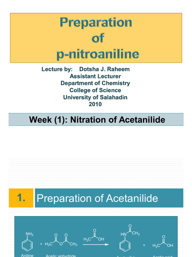 hydrolysis of acetanilide Nitration of acetanilide (lab report)  at the end, traces of acid should be removed because hydrogen ions catalyze the hydrolysis of the amide to p.