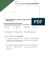 Adición y Sustracción de Fracciones Con Igual Denominador