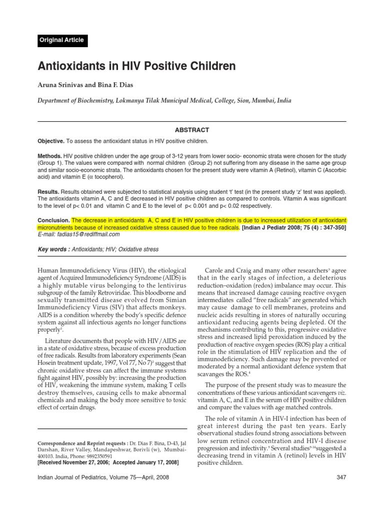 Antioxidants in HIV Positive Children   Hiv/Aids   Antioxidant