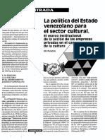 La Politica Del Estado Venezolano Para El Sector Cultural