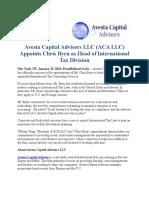 Avesta Capital Advisors LLC (ACA LLC) Appoints Chris Byrn as Head of International Tax Division