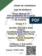 Manual de Procedimientos de Control Interno  en el Departamento de Sistema