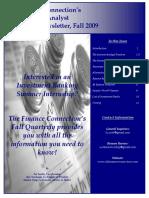 2009 Fall, Summer Analyst Recruiting Newsletter