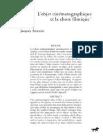 L'Objet Cinématographique Et La Chose Filmique - J. Aumont