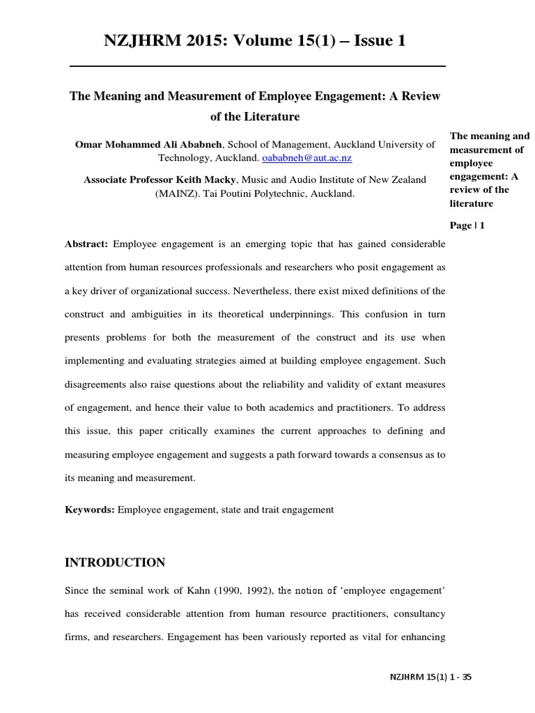 employee engagement literature review Employee engagement a review of literature and academic definition muhammad employee engagement has emerged as a.