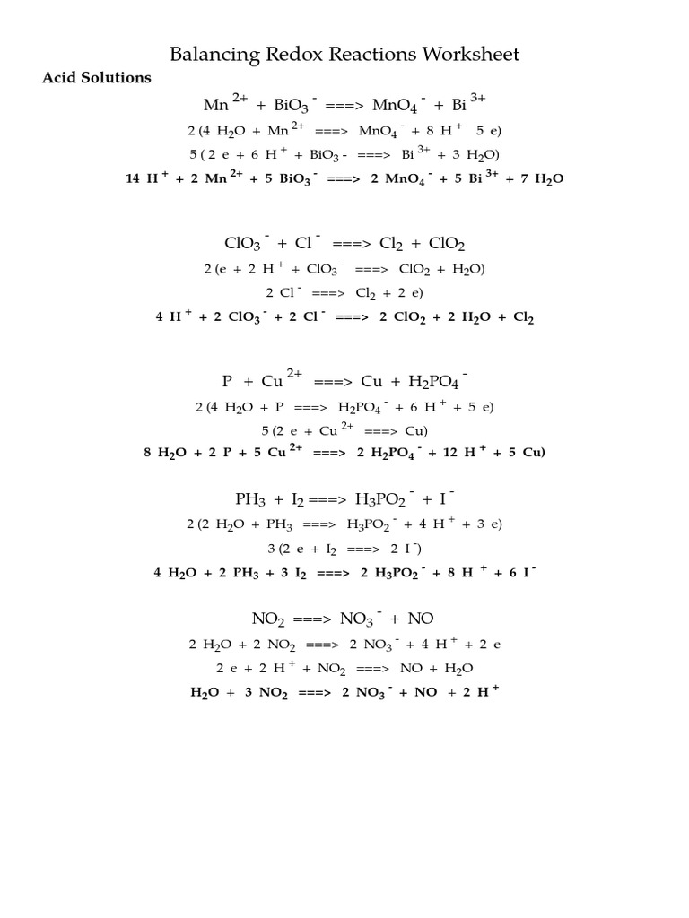 Uncategorized Redox Worksheet balancing redox reactions worksheet key
