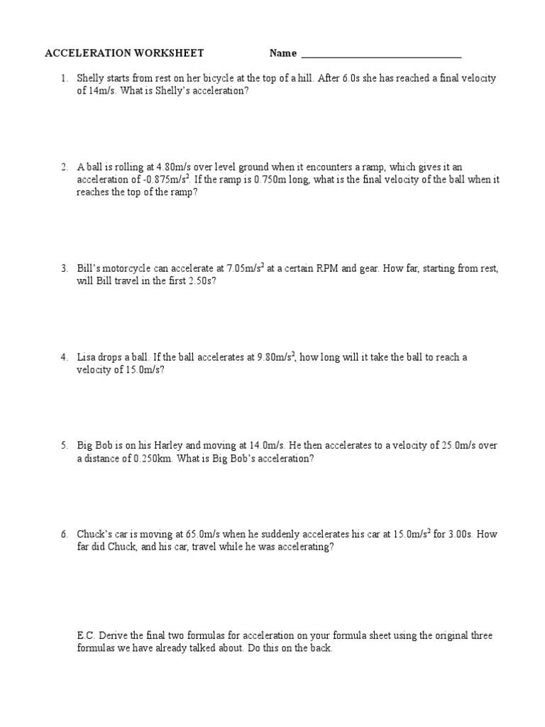 worksheet. Velocity And Acceleration Worksheet. Grass Fedjp ...