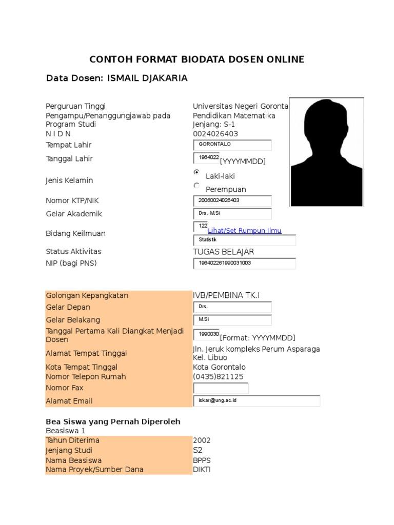 Contoh Format Biodata Dosen Doc