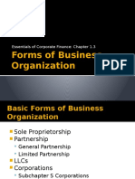 Chapter 1.3- Forms of Business Organization