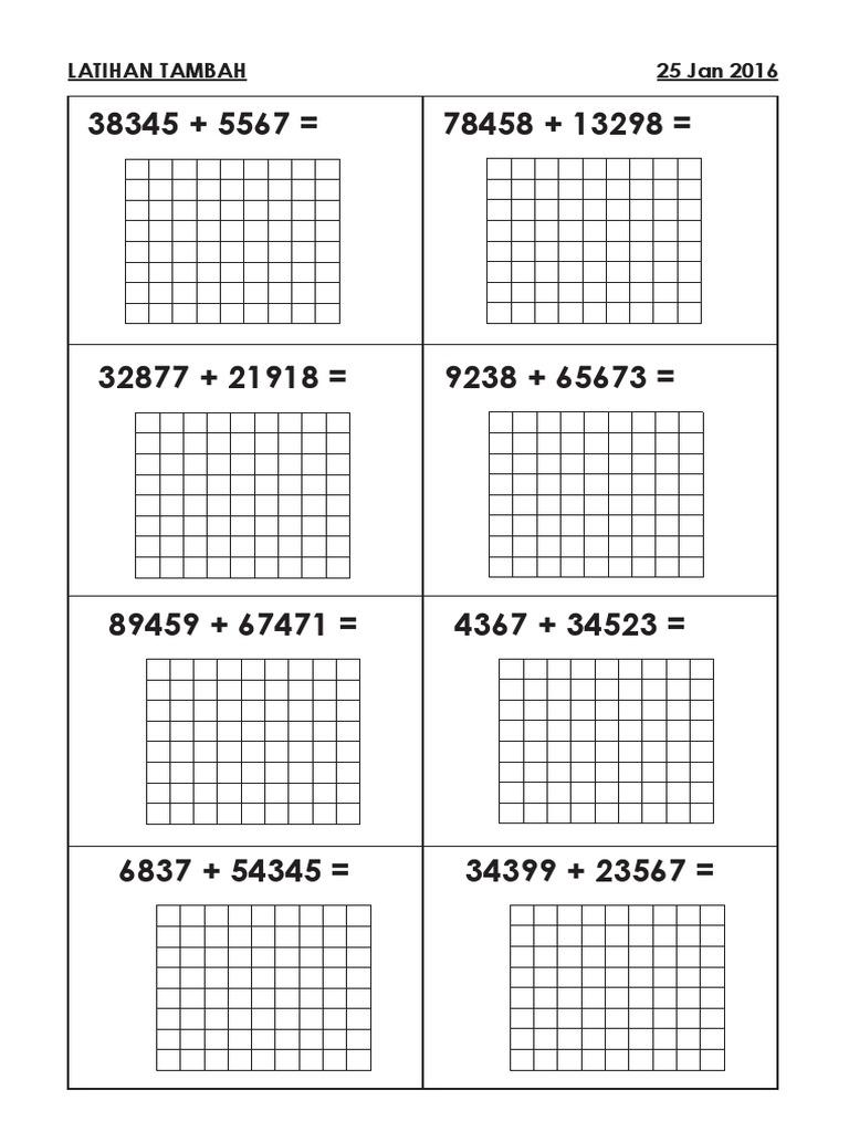 Latihan Tambah Matematik Tahun 3