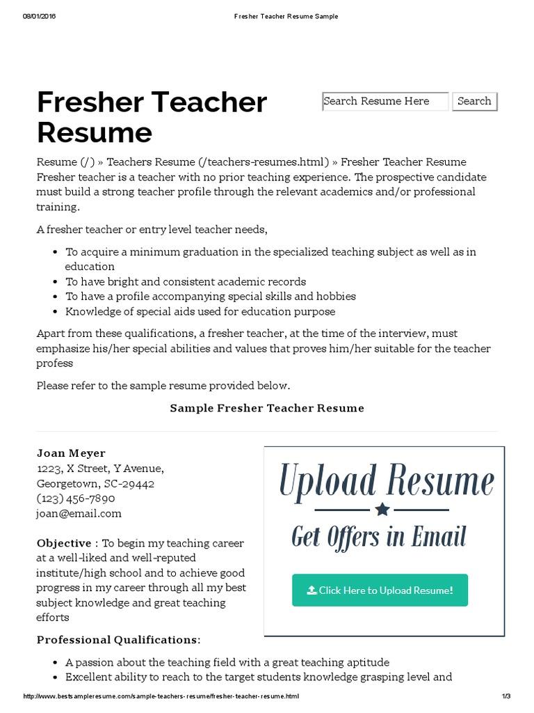 Fresher Teacher Resume Sample | Résumé | Teachers