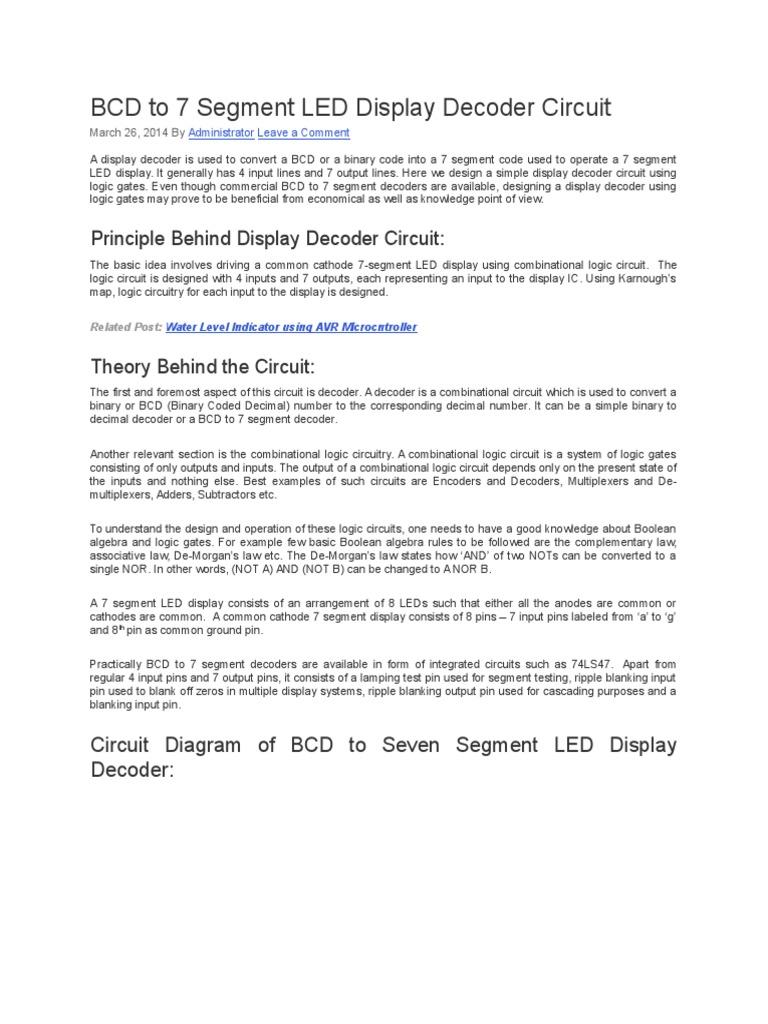 Bcd To 7 Segment Led Display Decoder Circuit Electronic Circuits Electronics