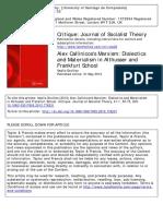 Alex Callinicos's Marxism Dialectics Althusser Frankfurst School