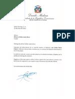 Carta de condolencias del presidente Danilo Medina a Minerva Núñez