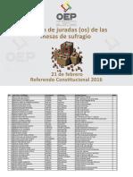 Lista de Jurados  Electorales para Rerefendo Constitucional 2016
