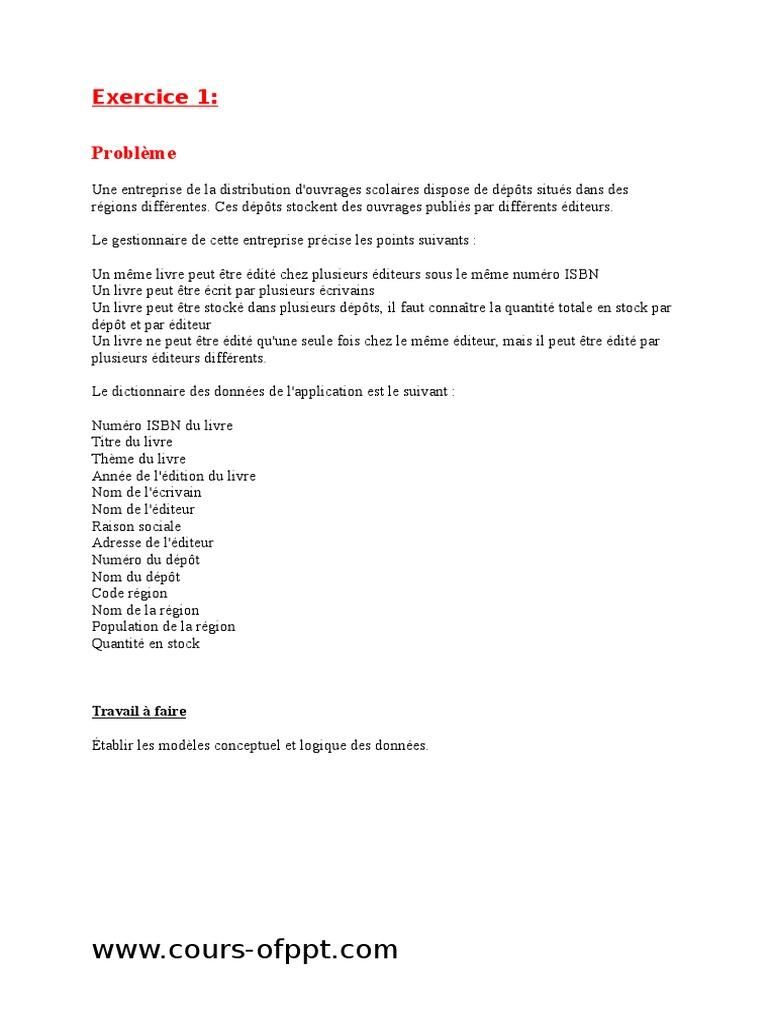 Exercices Merise Avec Corrigés   International Standard ...