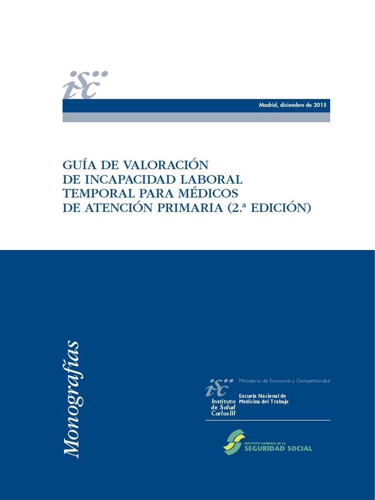 Guía de valoración de incapacidad laboral temporal para médicos de ...