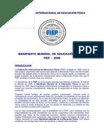 Manifiesto Mundial de Educación Física Fiep 2000