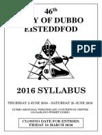 Dubbo Eisteddfod 2016 Syllabus