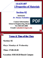 Mechanical Properties of Materials Lecture 01