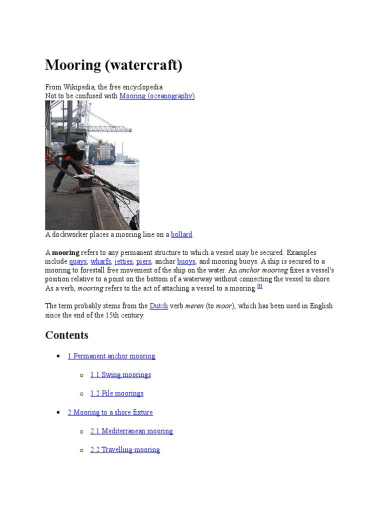 Mooring (Watercraft) | Anchor | Water Transport