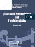 Professional Communication and Translation Studies, 8/2015