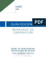 Gu%EDa Docente Materiales de Construccion GARQ (Curso 2013-14)