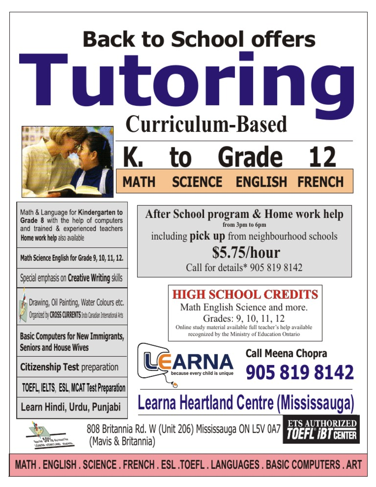 LEARNA HEARTLAND (Mississauga) - TUTORING: Our Special