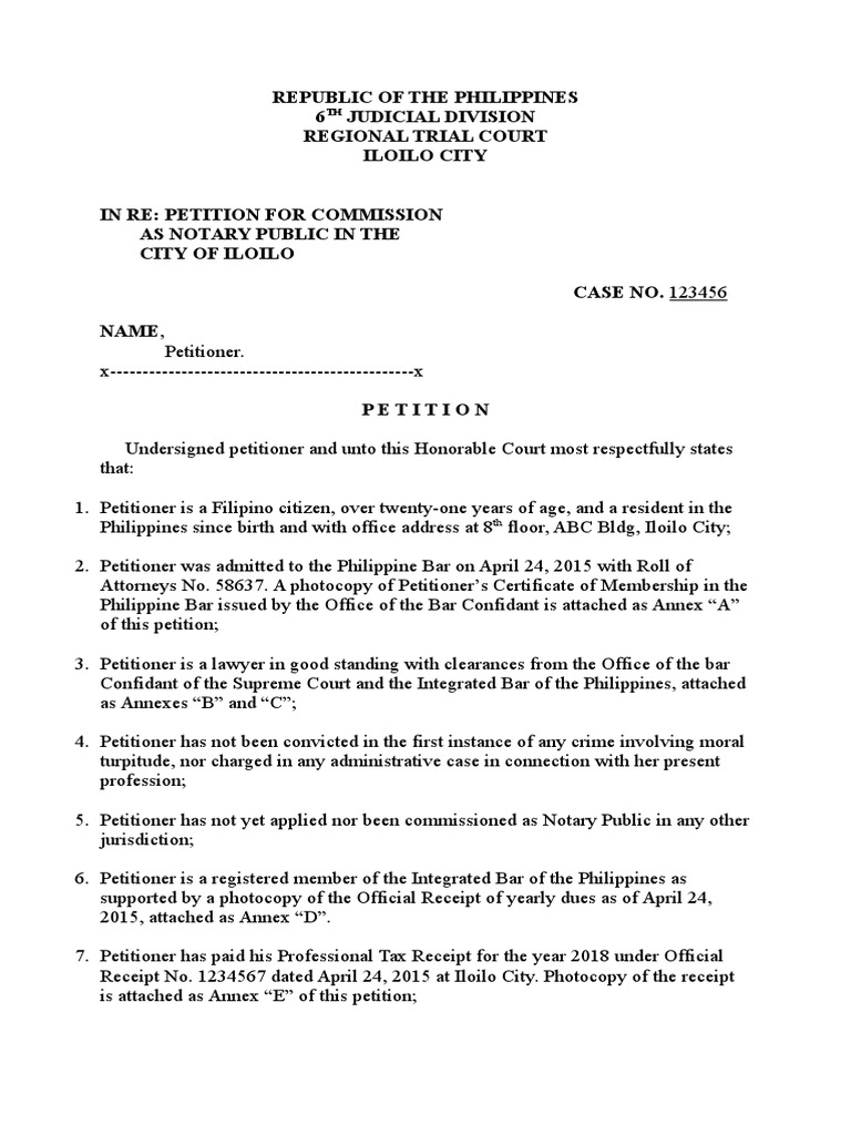 Petition For Notarial Commission Notary Public Affidavit