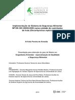 Implementação Do Sistema de Segurança Alimentar Np en Iso 22000_2005 Numa Unidade de Cozinhados de Truta