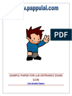 Sample Paper for Llb Entrance Exam