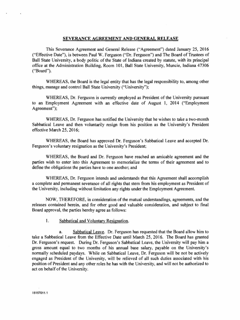 Ferguson Bsu Severance Agreement Consolidated Omnibus Budget