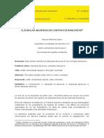 Clausulas Abusivas en Contratos Bancarios. Martinez Espin